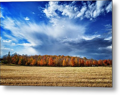 Autumn Rain Over Door County Metal Print