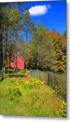 Autumn Red Barn Metal Print by Joann Vitali