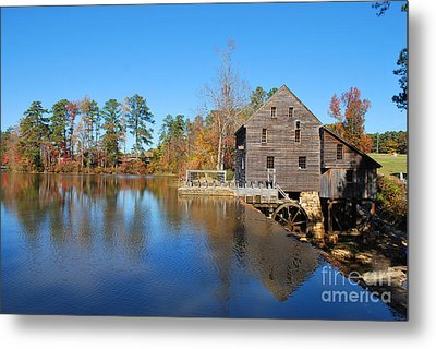 Autumn Reflections At Yates Mill Metal Print