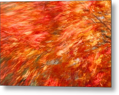 Autumn River Of Flame Metal Print by Jeff Folger