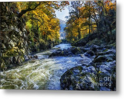 Autumn River Valley Metal Print by Ian Mitchell