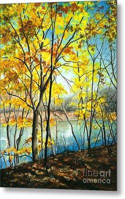 Autumn River Walk Metal Print