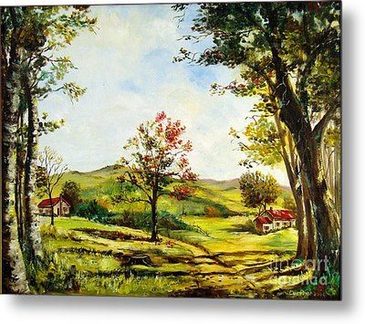 Metal Print featuring the painting Autumn Road by Lee Piper