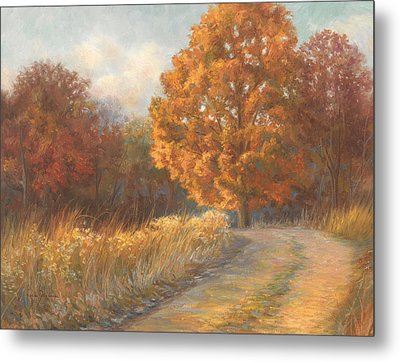 Autumn Road Metal Print by Lucie Bilodeau