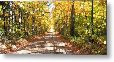 Autumn Road Mosaic Metal Print by Dan Sproul