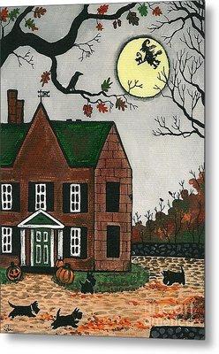 Autumn Scotties Metal Print by Margaryta Yermolayeva