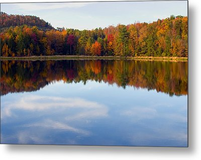 Autumn Shoreline Reflection Metal Print