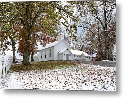 Autumn Snow And Country Church Metal Print by Thomas R Fletcher