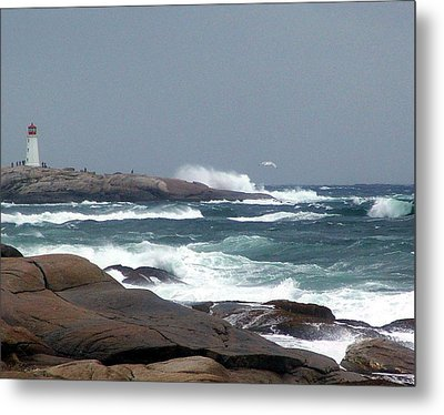Autumn Storm At Peggy's Cove Metal Print by Janet Ashworth