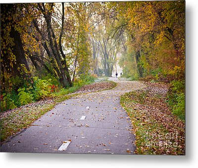 Metal Print featuring the photograph Autumn Stroll by Kari Yearous