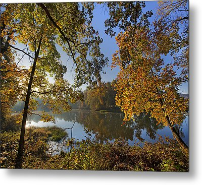 Autumn Sunrise On Lake Sequoyah Arkansas Metal Print by Tim Fitzharris