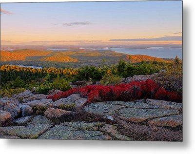 Cadillac Mountain Autumn Sunrise Metal Print by Stephen  Vecchiotti