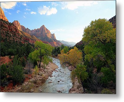 Autumn Sunset In Zion. Metal Print