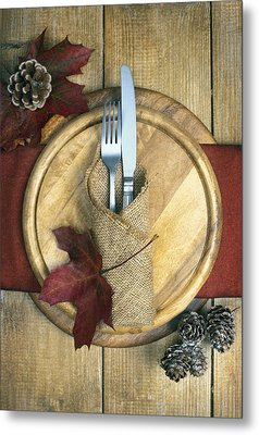 Autumn Table Setting Metal Print by Amanda Elwell