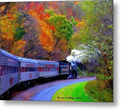 Metal Print featuring the painting Autumn Train by Bruce Nutting