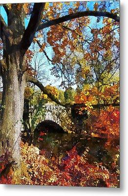Autumn Tree By Small Stone Bridge Metal Print by Susan Savad