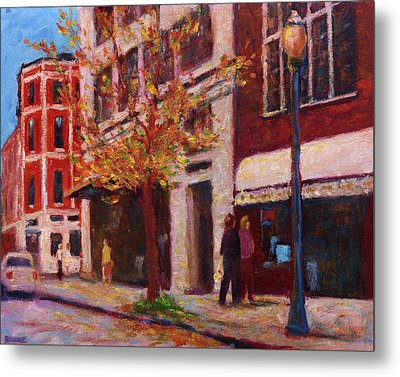 Autumn Walk Downtown Metal Print