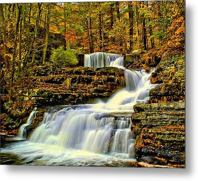 Autumn By The Waterfall Metal Print by Nick Zelinsky
