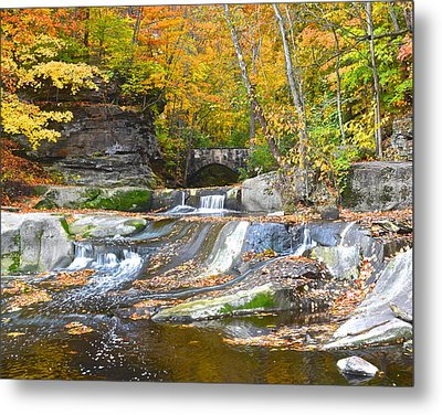Autumn Waterfall Metal Print by Frozen in Time Fine Art Photography