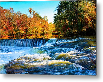 Metal Print featuring the photograph Amazing Autumn Flowing Waterfalls On The River  by Jerry Cowart