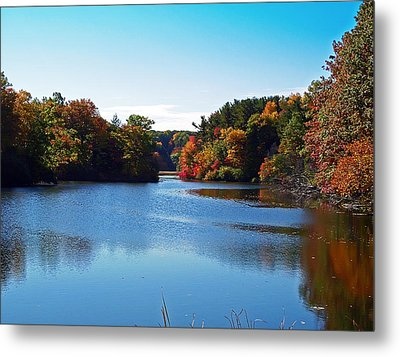 Autumn Waterway Metal Print by Aimee L Maher Photography and Art Visit ALMGallerydotcom