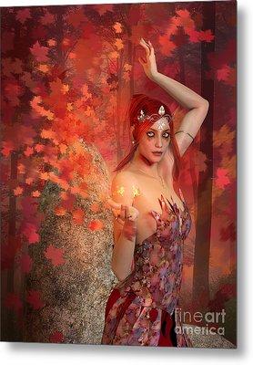 Autumn Witch Metal Print