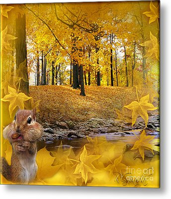 Metal Print featuring the digital art Autumn With A Squirrel - Autumn Art By Giada Rossi by Giada Rossi