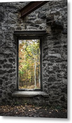 Autumn Within Cunningham Tower - Historical Ruins Metal Print by Gary Heller