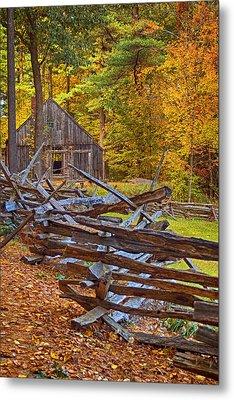 Autumn Wooden Fence Metal Print by Joann Vitali