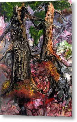Metal Print featuring the painting Autumn Woods by Sherry Shipley