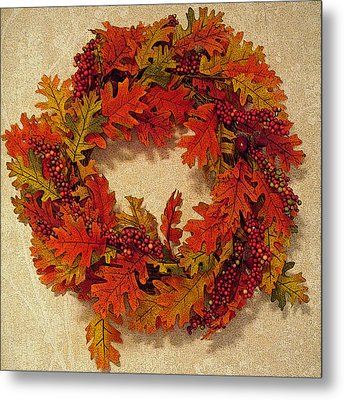 Autumn Wreath Metal Print by Aimee L Maher Photography and Art Visit ALMGallerydotcom