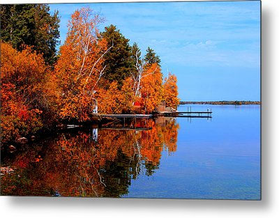 Autumnal Reflections Metal Print by Larry Trupp