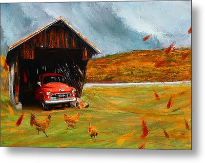 Autumnal Restful View-farm Scene Paintings Metal Print by Lourry Legarde