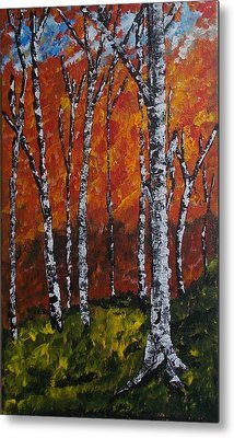 Metal Print featuring the painting Autumnforest by Zeke Nord