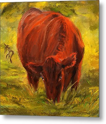 Autumn's Afternoon - Cow Painting Metal Print