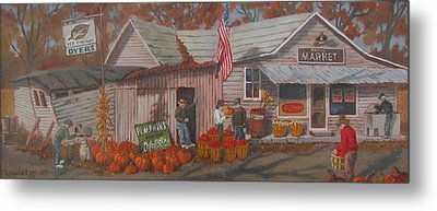 Metal Print featuring the painting Autumn's Charm by Tony Caviston
