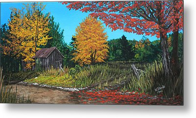 Metal Print featuring the painting Autumns Rustic Path by Wendy Shoults