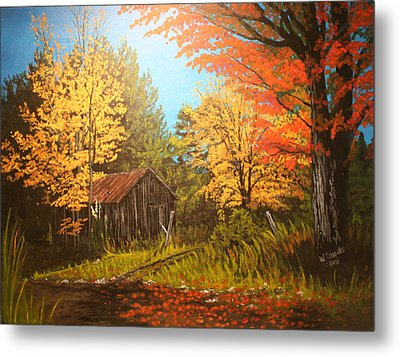 Metal Print featuring the painting Autumns Rustic Road by Wendy Shoults
