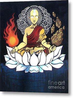 Avatar Aang Buddha Pose Metal Print by Jin Kai
