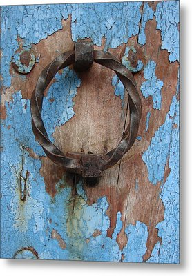 Avignon Door Knocker On Blue Metal Print by Ramona Johnston