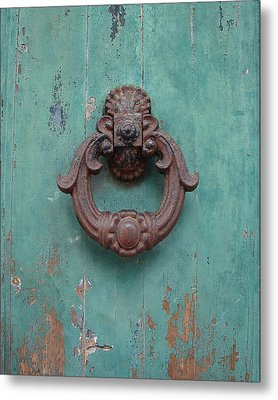 Avignon Door Knocker On Green Metal Print by Ramona Johnston
