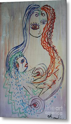 Metal Print featuring the painting Avi's Madonna by Avonelle Kelsey