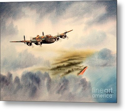Avro Lancaster Over England Metal Print by Bill Holkham