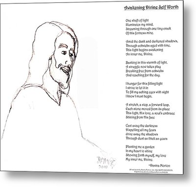 Awakening Divine Self Worth Sketch Of Jesus 2 Metal Print