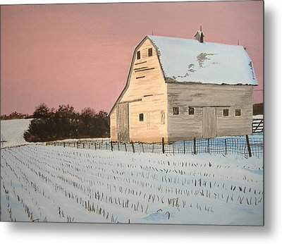 Award-winning Original Acrylic Painting - Nebraska Barn Metal Print by Norm Starks