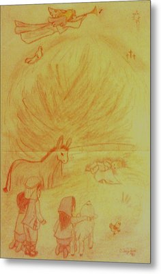 Away In A Manger Metal Print by Christy Saunders Church