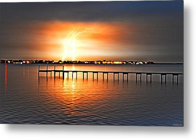 Metal Print featuring the photograph Awesome Lightning Electrical Storm On Sound by Jeff at JSJ Photography