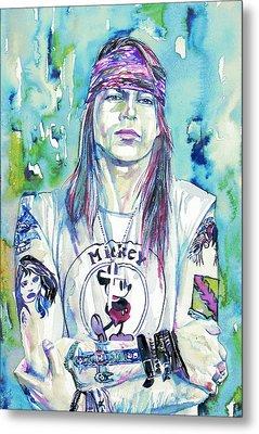 Axl Rose Portrait.1 Metal Print by Fabrizio Cassetta