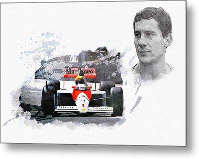 Ayrton Senna Genius Metal Print by Roger Lighterness