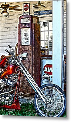 Metal Print featuring the photograph Aztec And The Gas Pump by Lesa Fine